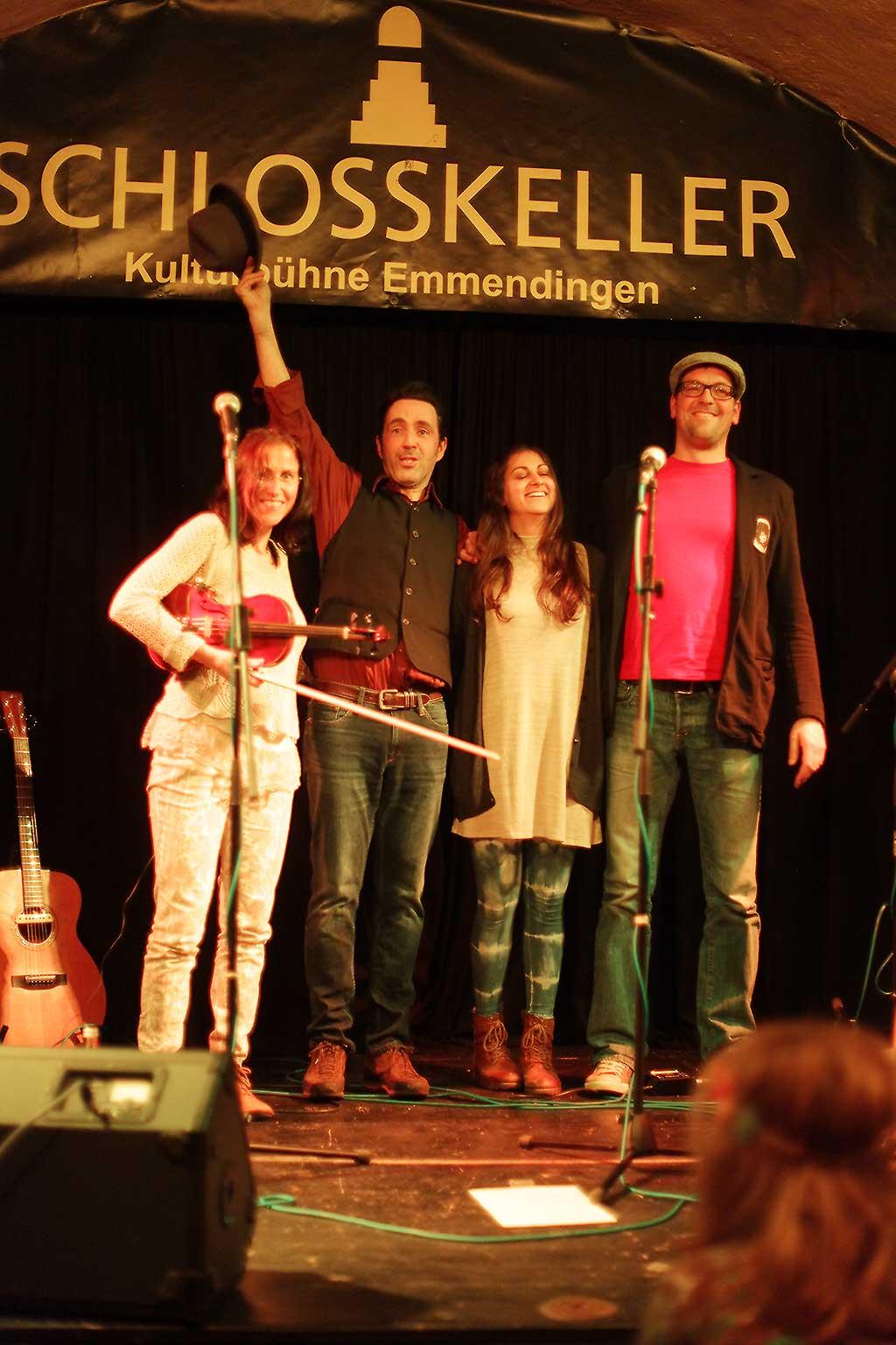 Oliver, Konrad, Rabea, Katharina im Schloßkeller Emmendingen